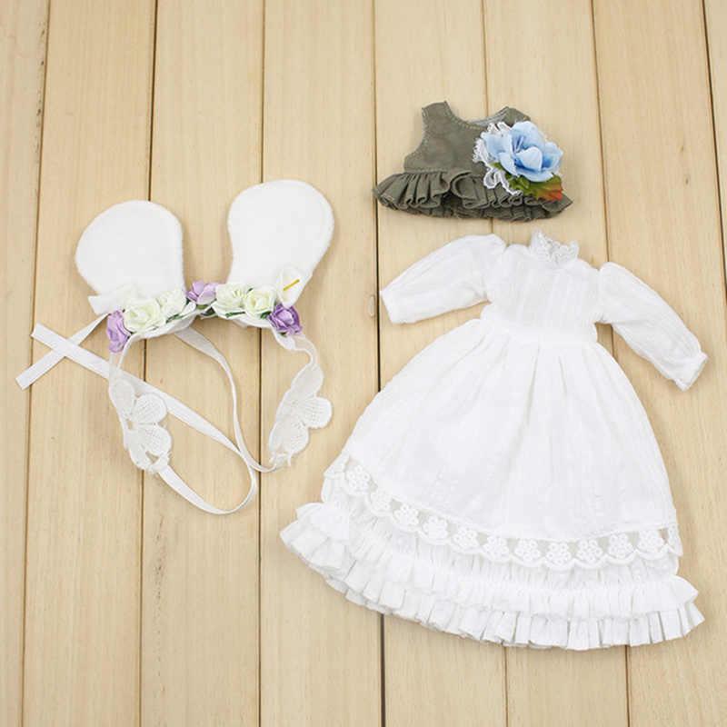 Одежда для 1/6 Блит белый длинное платье с Головные уборы и жилет пастырской Стиль