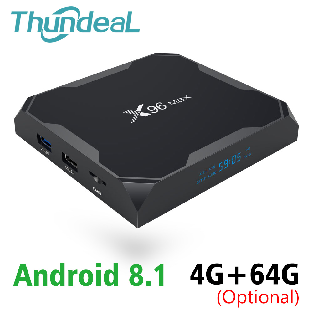 Nouveau X96 MAX Android 8.1 TV BOX Amlogic S905X2 LPDDR4 X96MAX 4 GB 64 GO boîtier de smart TV 2.4G 5.8 GHz wifi 1000 M H.265 4 K lecteur multimédia