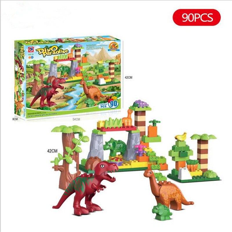 ФОТО 90Pcs/Lot Dino Valley Building Blocks Sets Large particles Animal Jurassic World Model toys Bricks Compatible Duploe