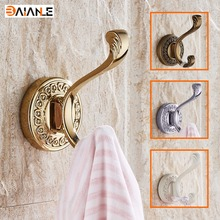Gold Zinc Alloy clothes hooks wall mounted coat hook Bathroom Accessory handing towel single Robe Hooks