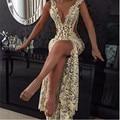 2016 Sexy Кружева Пром Платья Глубокий V Шеи с Бисером подробно и Бедро Высокие Щели Sheer Pageant Платья