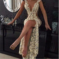 2016 Sexy Lace Prom Gowns Deep V Neck with Beaded detail and Thigh-High Slit Sheer Pageant Dresses