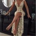 2016 Sexy Lace Prom Vestidos Profundo Decote Em V com detalhe Frisado e Coxa-Alta Slit Sheer Vestidos Pageant
