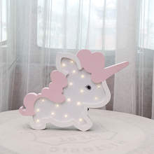 Wall Decoration Night Lamp Unicorn Shape Battery LED Lovely Lights For Bedside Lamp Table Children's Decor Lights