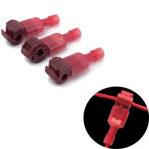 Image 1 - 10 יח\חבילה מסוף בלוק שבור כבל מסופי TC כבלי חיבור אדום כרטיס סיליקון מחבר מהדק קליפ T סוג חשמלי