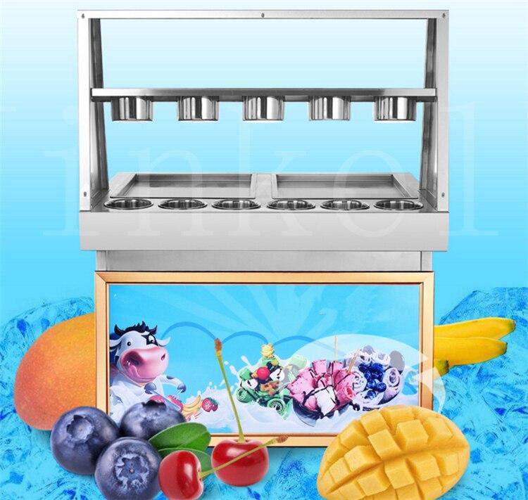 JKL livraison gratuite CE 110 v 220 v frit machine à crème glacée commerciale LED machine à crème glacée, une casserole avec 10 seaux avec couvercle en verre
