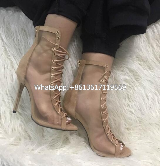 New Arrival Sexy Transparent Women Lace-up Ankle Boots Fashion Peep Toe Cross-tied Gladiator Heel Shoes Casual Stiletto Sandals lace up comfortable beautiful party shoes woman gladiator boots fashion sexy high heel ankle boots peep toewomen s shoes