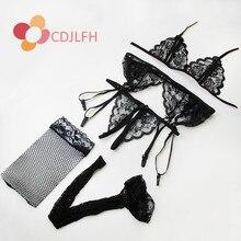 CDJLFH 2017 Sexy Women Francês Intimate Pijamas Robe Lingerie Sexy Traje Vestido Sexy Vestido de Noite Das Mulheres Lingerie Sexy Erótico