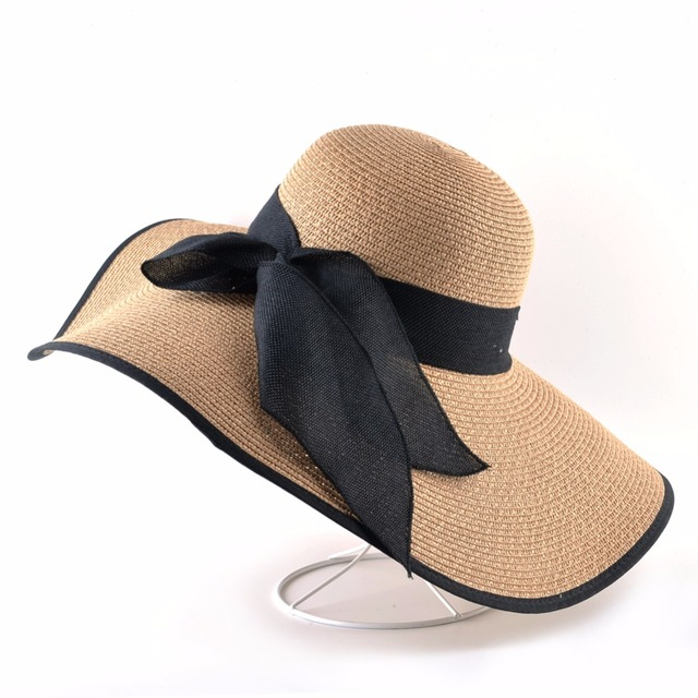 Fashion Straw Hat For Women Summer Casual Wide Brim Sun Cap With Bow-knot Ladies Vacation Beach Hats Big Visor Floppy Chapeau 1
