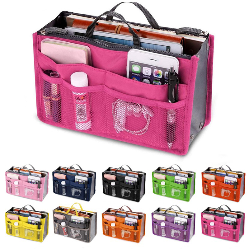 HJKL Women Cosmetic bag Organizer Bag in Bag Double Zipper Makeup Bag Portable Multifunctional Travel Pockets Handbag(China)