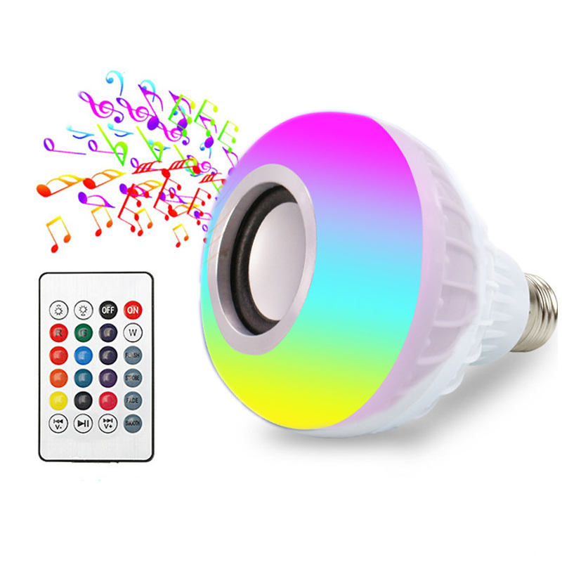 Smart E27 LED Bulb Light Bluetooth Speaker RGB Led Lamp 12W Music Playing Dimmable Wireless Remote Control lampada 85-265V Tubes smuxi e27 led rgb wireless bluetooth speaker music smart light bulb 15w playing lamp remote control decor for ios android