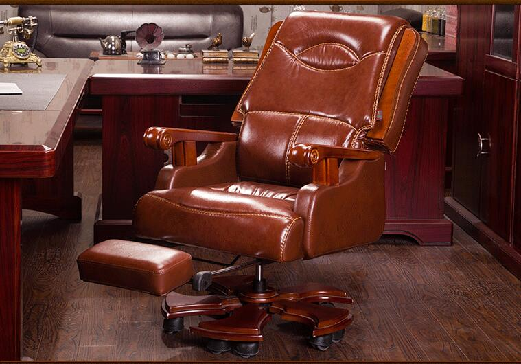 Купить с кэшбэком Boss chair. Real leather computer chair. Home massage can lie in the leather chair. Solid wood armrest office chair.26
