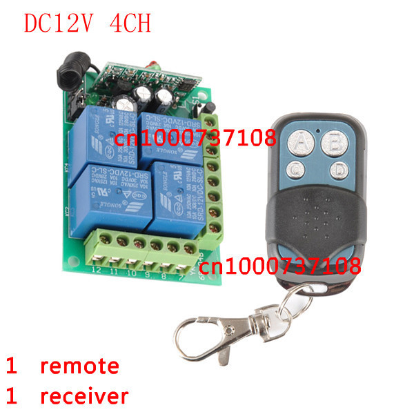 Learning Code DC 12V 10A 4 CH Wireless Remote Control Switch Systems Receiver * Transmitter RF radio switch yt04 12v 4 channel remote switch 4 button remote control w learning code off white white