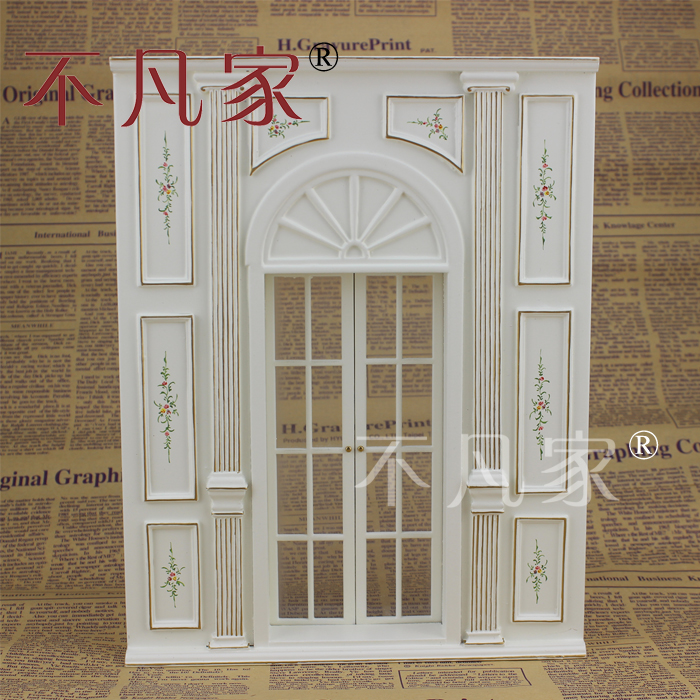 Dollhouse 1/12 Scale Fine Miniature furniture white Hand painted wall window Can be opened 1 12 scale fine dollhouse miniature furniture white cabinet