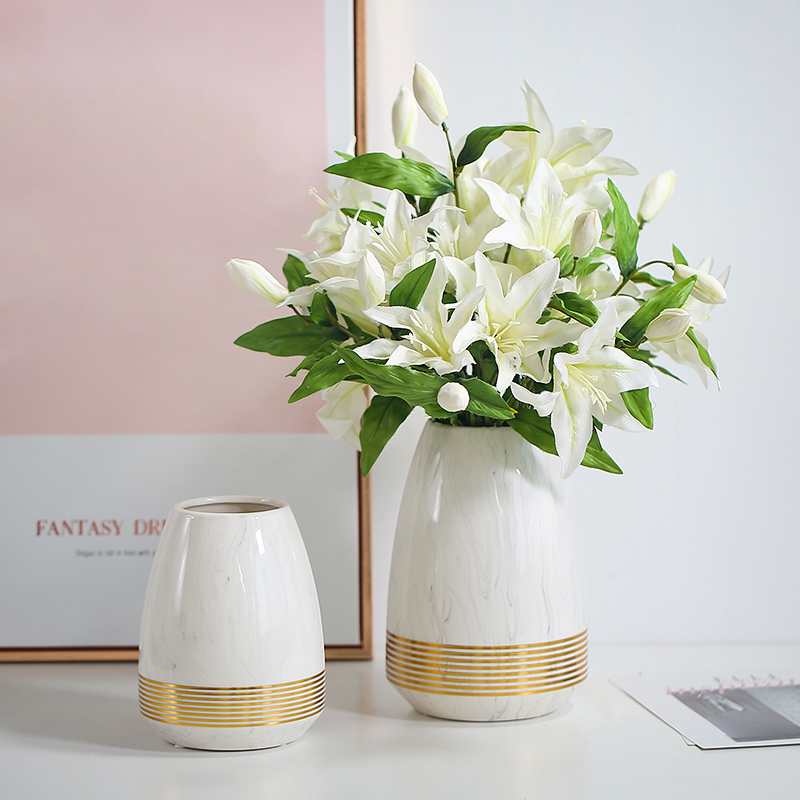 1pc Marbled Cearamic Vase Golden Circle Flower Vase Water Planting Container Home Decorative Wedding Gift