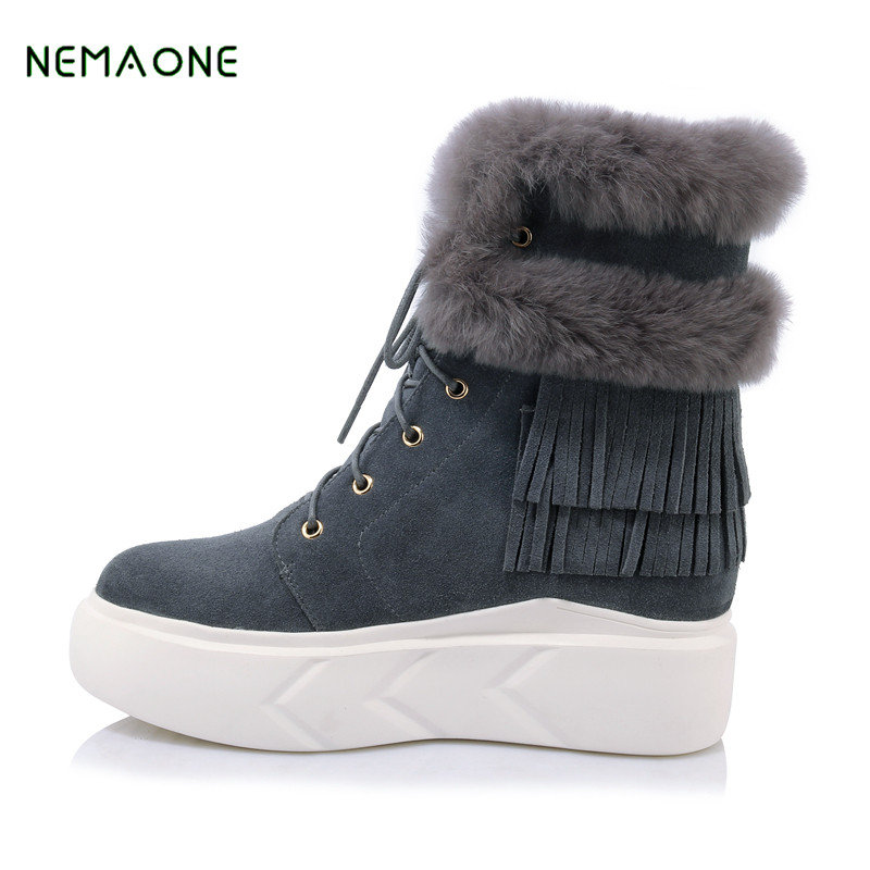 NEMAONE Fashion High Snow boots Women boots 100% Genuine Sheepskin Leather Lace up Long boots Natural Fur Warm Wool Winter Boots winter warm women boots high quality snow boots 100% genuine sheepskin and natural fur fashion boots free shipping