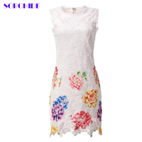 SORCHIDF Spring Summer Women Full Lace Print Flower High Waist Sexy Lace Dress Hollow Out Women