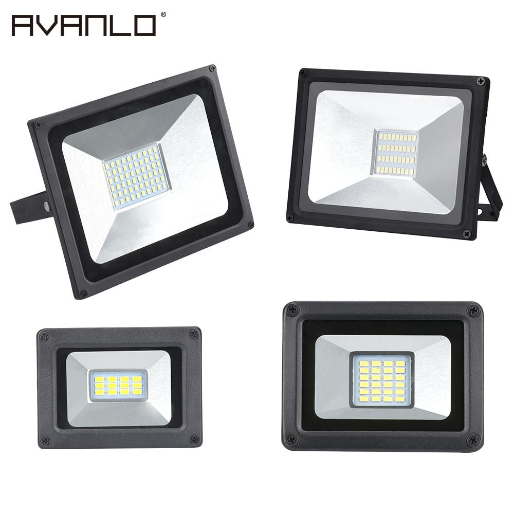 Reflector LED 50 W 30 W 20 W 10 W Led Ultra delgado de reflector de la luz de inundación al aire libre 220 V IP65 al aire libre de la pared de la lámpara de luz de inundación Led