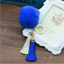 New Arrival 2016 Cute Rabbit Fur Ball Key Chain Keychain llaveros mujer Fluffy Fur Pom Pom Keychain Tassel Car Bag Key Ring