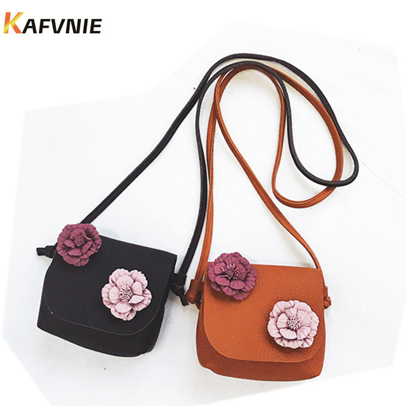 New Cute Mini Bag Children Handbag For Women Cartoon Flower Tassel PU Waterproof Should Bag Kids Girls Fashion Messenger Bags cute cartoon women bag flower animals printing oxford storage bags kawaii lunch bag for girls food bag school lunch box z0