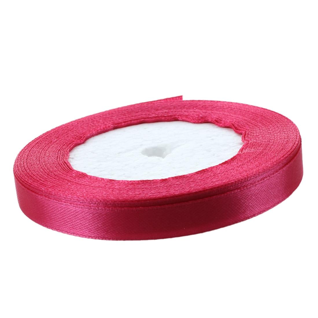 3/8 «10 мм 25 ярдов атласная лента, рулон Свадебная вечеринка Craft DIY украшения ярко-розовый