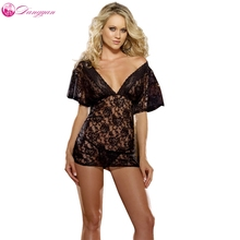 Sexy Lingerie Glam Full Of Lace Boudoir Transparent Nightwear  Sexy See Through Sleepwear see through slip pajama top transparent sleepwear