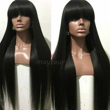 شعر مستعار اصطناعي طويل مستقيم مع الانفجارات شعر أسود طويل الباروكات للنساء
