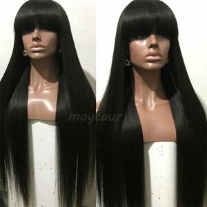 Image 2 - Uzun düz sentetik saç kahküllü peruk uzun siyah saç peruk kadınlar için