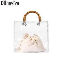 285b67873 DIINOVIVO Simple bolsa transparente bolso de mano de mujer con mango de  bambú de verano bolsas pequeñas para mujeres moda bolsas.