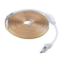 LAIMAIK-tira de luces Led impermeable para exteriores, tira de luces LED SMD3014, AC220V, 120Led/M, IP67, con enchufe europeo