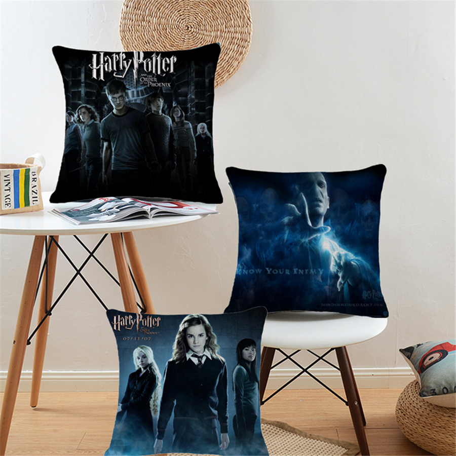 Square Harry Potter Movie Cotton Linen Decorative Cushion Cover For Couch Chair Sofa Home Decor Throw Pillow Cover 45x45cm B196