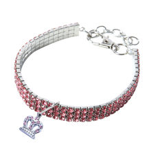 Trsnser Dog Collar Mini Pet Dog White Bling Rhinestone Chocker Collars Fancy Heart Shaped Crystal Necklace Harness 19Apr25 P40(China)