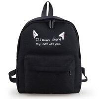 Yeni karikatür kedi moda kadın sırt yeni tiki tarzı rahat okul çantaları tuval sevimli Komik baskı Kore kızlar sırt çantası XA724B