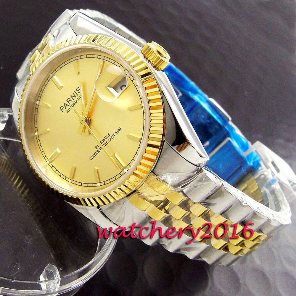 Повседневное 36 мм Парнис роза золотой циферблат Для женщин s часы в стиле милитари сапфировое стекло стальной корпус miyota автоматические Для