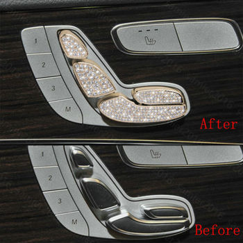 7x Gold Diamond Style Seat Adjust Button Cover Fit For Benz GLC Class X205 16-17
