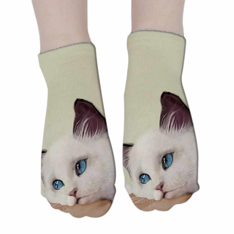 RUBU ผู้หญิงสัตว์ตลกน่ารัก 3D พิมพ์ถุงเท้าผู้หญิงถุงเท้าข้อเท้าถุงเท้า Unisex แฟชั่น SOX การ์ตูนแมวสำหรับหญิง 5H1