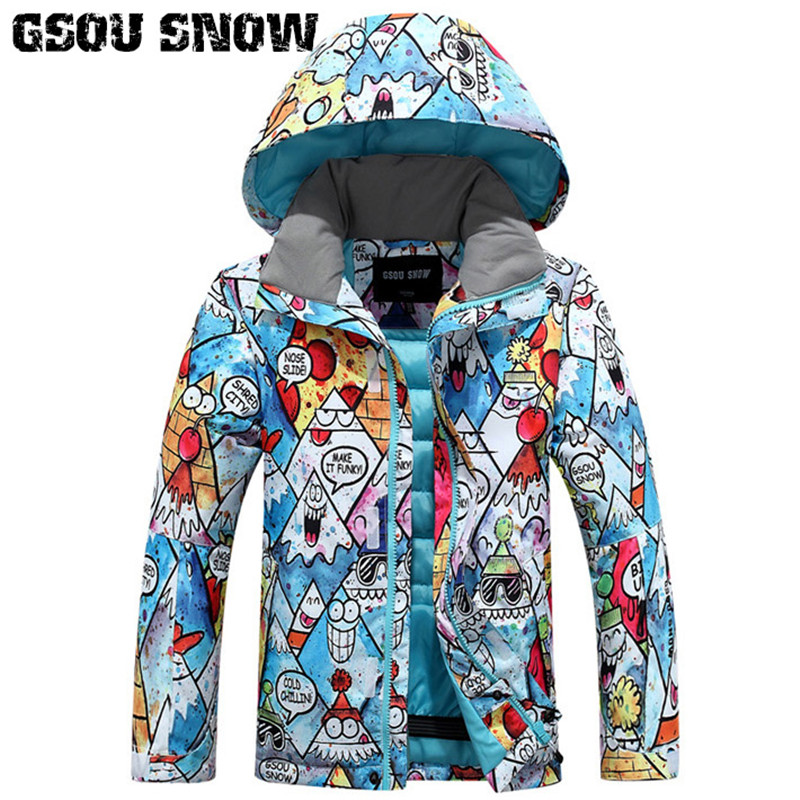2018 GSOU SNOW Boys Ski Jacket Thermal Clothing Kids Snowboard Jacket Windproof Waterproof Outdoor Sport Wear Children Ski Coat 2018 gsou snow men ski jacket snowboard clothing windproof waterproof thermal breathable male clothing outdoor sport wear winter