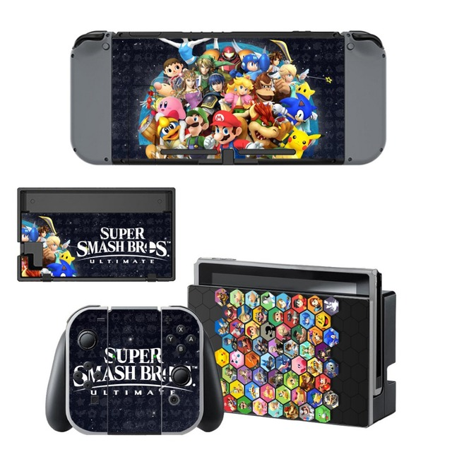 Protector Sticker of Super Smash Bro s Decal Vinyl Skin for Nintend Switch NS Console Controller +Stand Holder Protective Film 2
