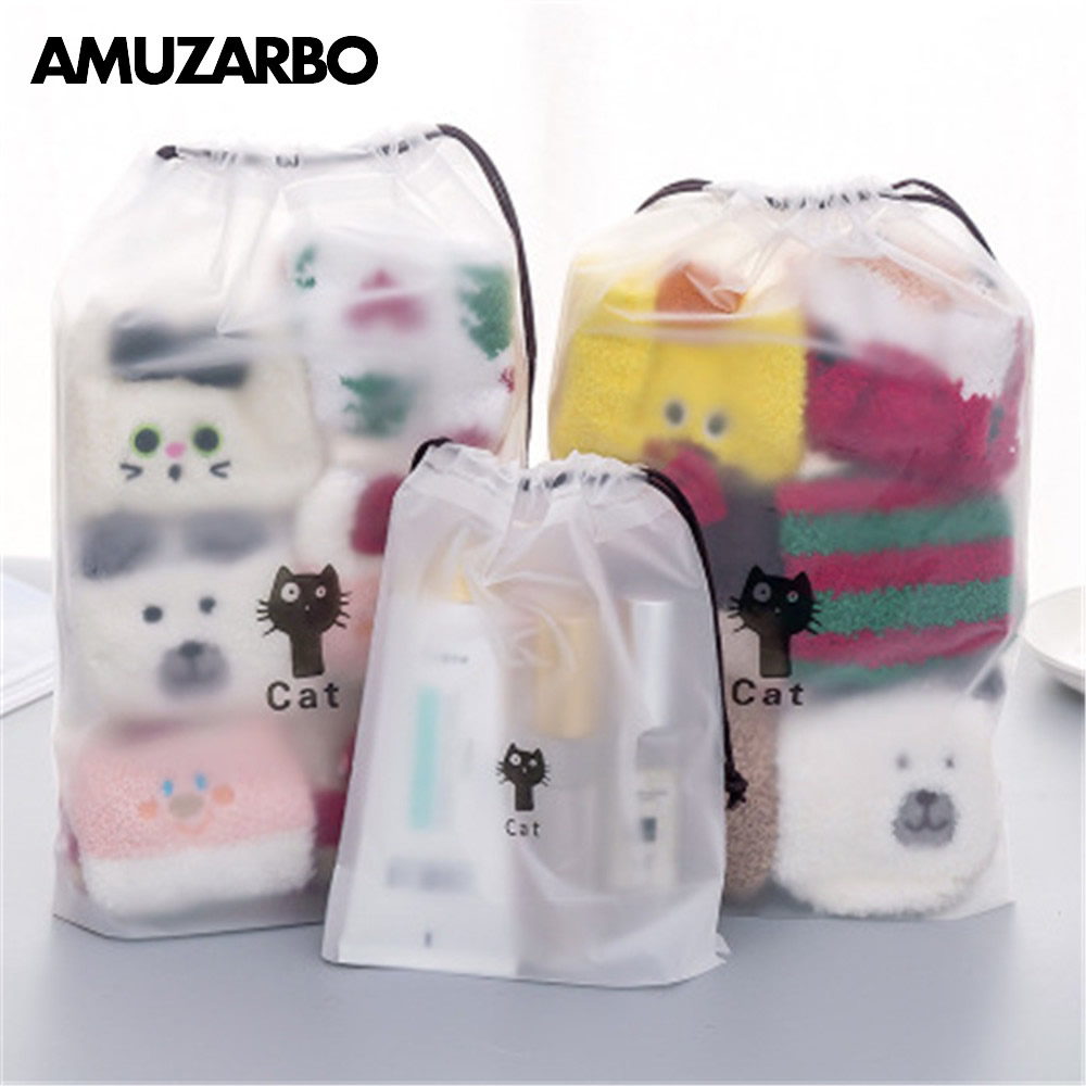 1 Pcs Cute Cat Transparent Cosmetic Bag Travel Makeup Bag Women Drawstring Make Up Organizer Storage Pouch Wash Beaut Kit