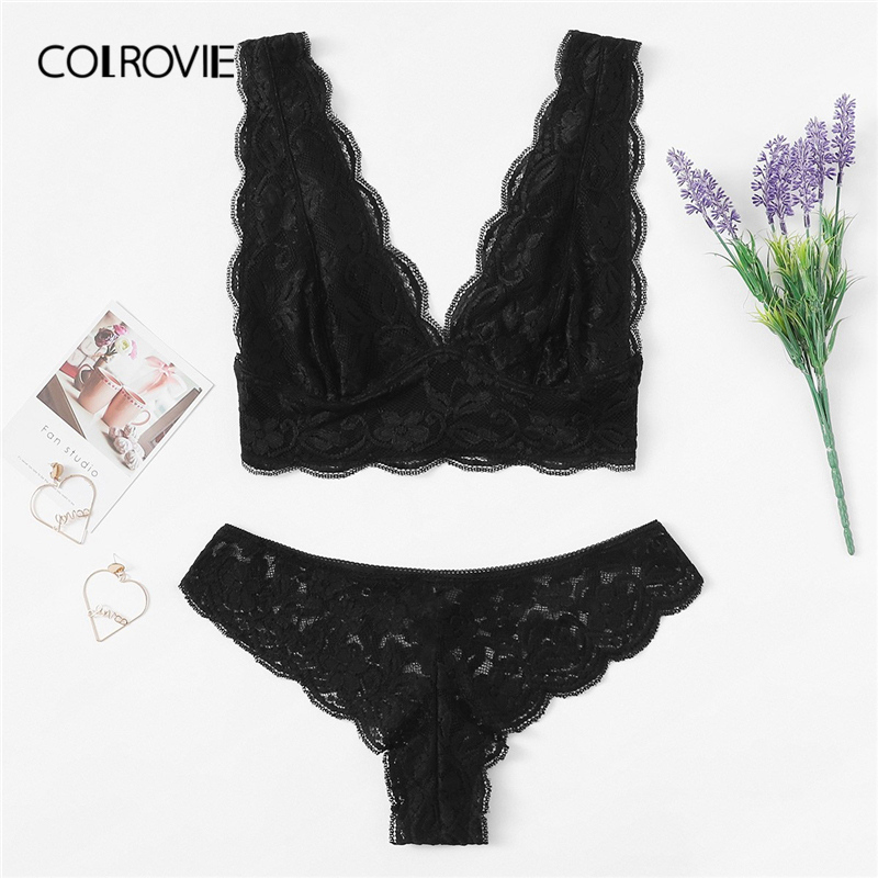 COLROVIE Black Scalloped Floral Lace Sexy Lingerie Set 2019 Spring Fashion Women Underwear Ladies Bra Set Female Intimates