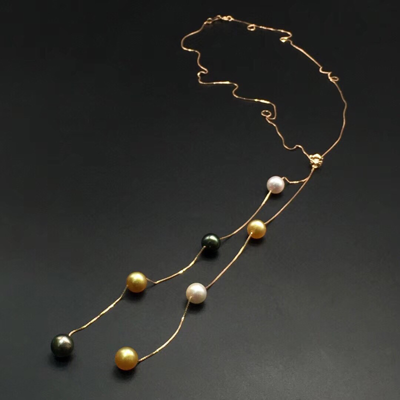 Sinya Trendy 18k gold long chain Diamond necklace with 8-9mm Tahitian southsea round pearls fine jewelry for women Mom New 2018 free shipping imitation pearls chain flatback resin material half pearls chain many styles to choose one roll per lot