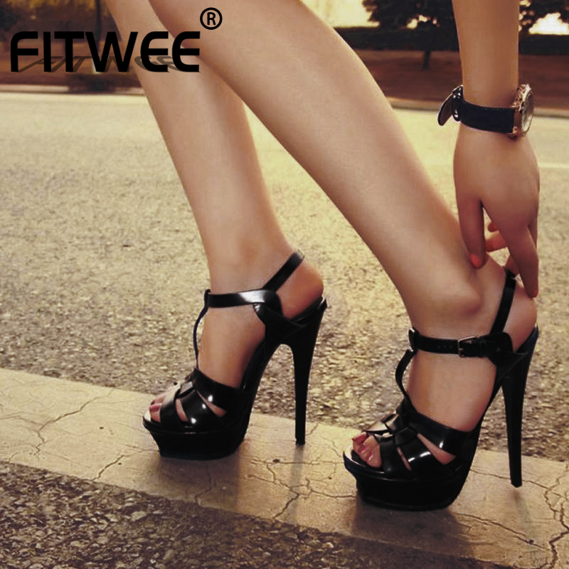 FITWEE New Woman Real Leather Sandals Gladistor High Platform Roman Shoes Summer T Strap Buckle Wedding