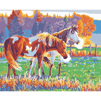 Coloring By Numbers DIY Oil Painting By Numbers Frameless Hand Painted Two Horses Animal Canvas Wall