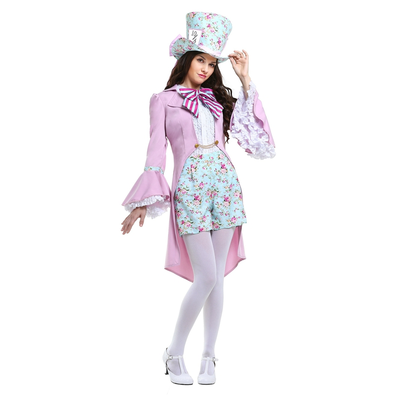 Updated Pink Feminine Pretty Mad Hatter Improved Curious Charater Of Movie Alice In Wonderland Womens Fashion Halloween Costume