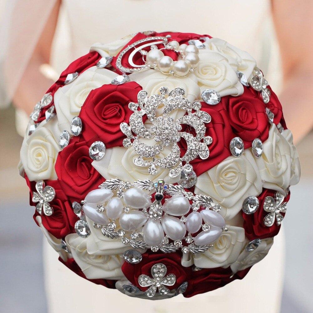 Ivory And Red Flowers Wedding Bridal Bouquet De Fleur