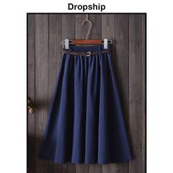 Прямая поставка Женская юбка юбки плиссированные длинные черные миди Высокая талия Faldas Mujer Moda 2019 корейский пояс в стиле пэтчворк сезон