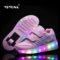 Size 27-37// New 2016 Junior Girls Boys LED Light Sneaker, Child Jazzy Roller Skate Shoes With Wheels, Kids Sneakers