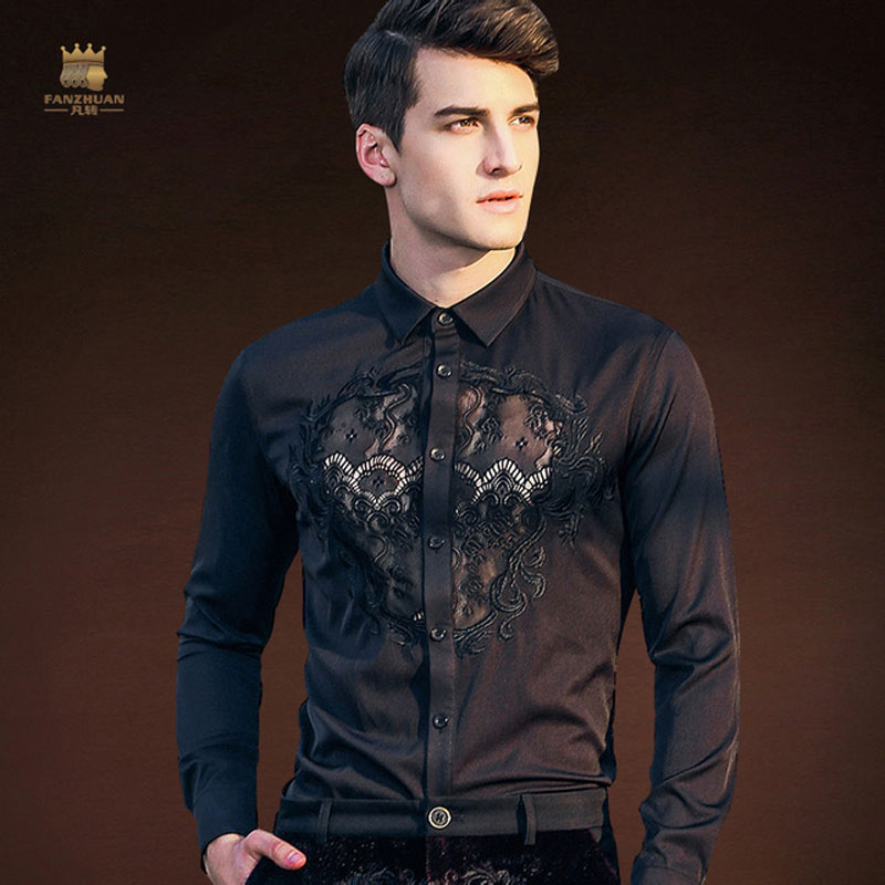 FANZHUAN Free Shipping Fashion New Man Male Men's Long Sleeved Embroidered Black LACE Slim Party Costume Dress Shirt 812196