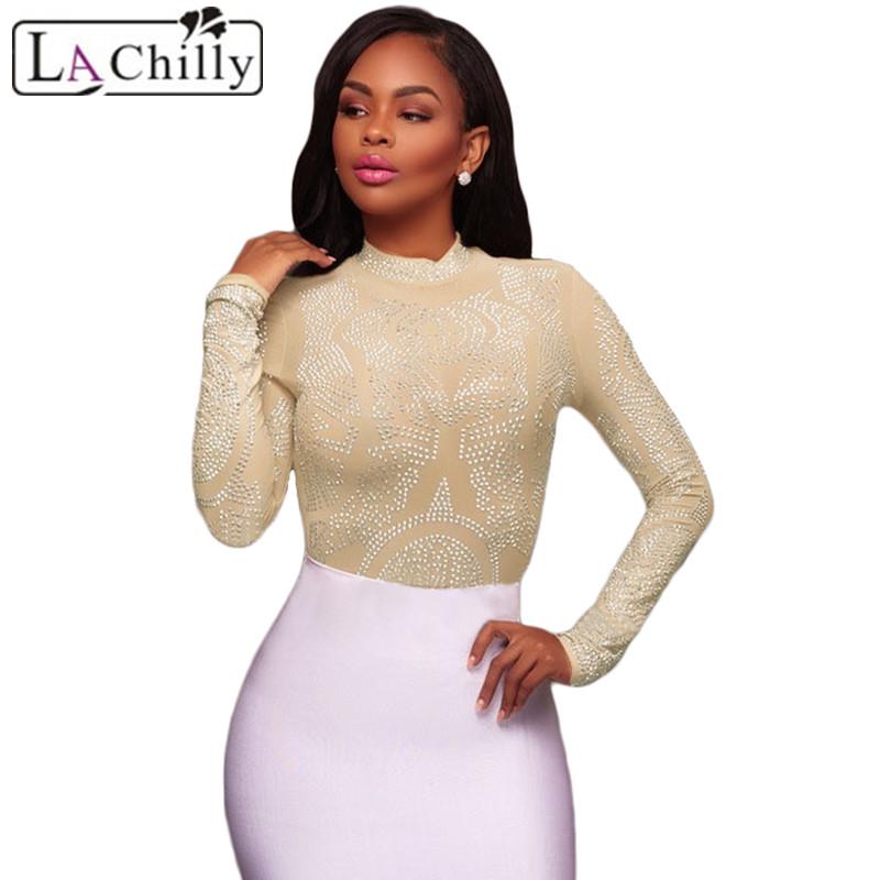 La Chilly Bodycon Overalls Sexy Body Feminino 2018 Black Mesh ... 5571c6f99