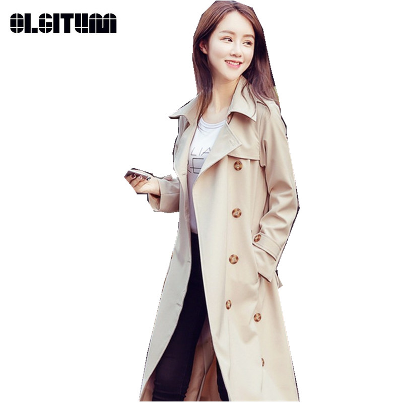 New Arrival Women's   Trench   Coat High Quality Slim Windbreaker for Female Solid Elegant Long Lady   Trench   TR111